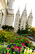 Salt Lake Temple Prints - SLC Slant Print by La Rae  Roberts