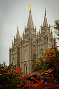 Religious Photo Prints - SLC Temple Angle Print by La Rae  Roberts