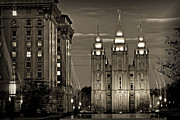 Salt Lake Temple Prints - SLC Temple Light Trails Sepia Print by La Rae  Roberts