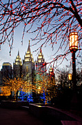 Slc Prints - SLC Temple Lights lamp Print by La Rae  Roberts