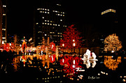Slc Art - SLC Temple Nativity Pond by La Rae  Roberts