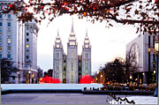 Temple Square Framed Prints - SLC Temple Red and White Framed Print by La Rae  Roberts