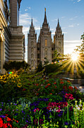 Mormon Temple Photo Acrylic Prints - SLC Temple Sunburst Acrylic Print by La Rae  Roberts