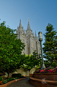 Slc Framed Prints - SLC Temple Walk Framed Print by La Rae  Roberts