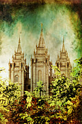 Mormon Temple Photo Acrylic Prints - SLC Vintage Green Acrylic Print by La Rae  Roberts