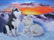 Huskies Painting Posters - Sled Dog Dreams Poster by Karen  Peterson