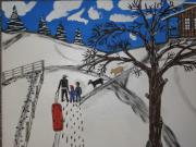 Winter Paintings - Sled riding by Jeffrey Koss
