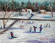 Snow Scene Pastels Metal Prints - Sledding Metal Print by Joyce A Guariglia
