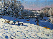 Snowfall Framed Prints - Sledging Near Youlgreave Framed Print by Andrew Macara