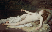 Naked Metal Prints - Sleep Metal Print by Louis Joseph Raphael Collin