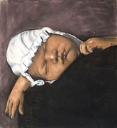 Romantic Realism Pastels Prints - Sleeping Baby Print by L Cooper