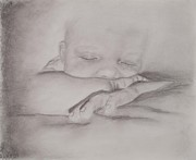 Children Day Drawings - Sleeping Baby by Michelle Wolff