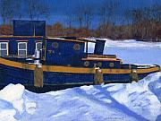 Upstate Painting Acrylic Prints - Sleeping Barge Acrylic Print by Lynne Reichhart
