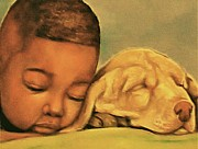 African American Artist Pastels - Sleeping Beauties by Curtis James