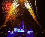 Sleeping Beauty Castle And Fireworks Print by Sam Amato