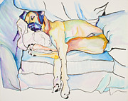 Dog Watercolor Framed Prints - Sleeping Beauty Framed Print by Pat Saunders-White