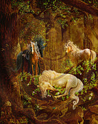 Unicorn Art Paintings - Sleeping Beauty by Steve Roberts