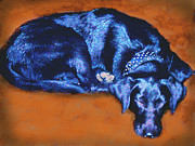 Painted Mixed Media Metal Prints - Sleeping Blue Dog labrador retriever Metal Print by Ann Powell