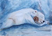 Brenda Thour - Sleeping Buddies aceo Baby Polar Bear and Mouse