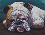 Bulldog Paintings - Sleeping Bulldog by Lee Ann Shepard