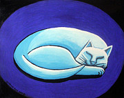 Acrylic On Canvas Painting Framed Prints - Sleeping Cat Framed Print by Genevieve Esson