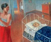 Caring Mother Painting Framed Prints - Sleeping Child Framed Print by Kuzma Sergeevich Petrov Vodkin