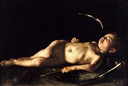 Caravaggio Paintings - Sleeping Cupid by Pg Reproductions