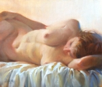 Reclining Paintings - Sleeping Figure by Pauline Adair