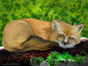 Fox Digital Art - Sleeping foxx by Diane Haas