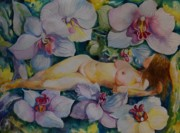 Orchids Art - Sleeping in Eden by Min Wang