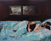 Couples Painting Framed Prints - Sleeping In Framed Print by Leslie Allen