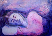 Watercolor  Reliefs Posters - Sleeping Poster by Julie Jacobs