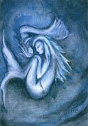 Sleeping Mermaid Art - Sleeping Mermaid and Baby by Kathryn Kelton