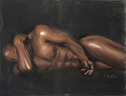 Black Pastels Posters - Sleeping Nude Poster by L Cooper