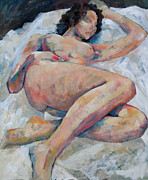 Reclining Paintings - Sleeping Nude by Susanne Clark