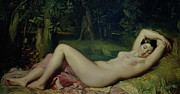 Naked Metal Prints - Sleeping Nymph Metal Print by Theodore Chasseriau