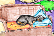 Water Color Drawings Framed Prints - Sleeping Rottweiler Dog Framed Print by Jera Sky
