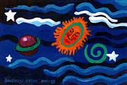 Canvas Panel Prints - Sleeping Sun and Saturn With Spiral Print by Genevieve Esson