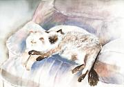 Felines Painting Prints - Sleeping Together Print by Arline Wagner