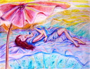 Umbrella Drawings Framed Prints - Sleeping under umbrella Framed Print by Yelena Rubin