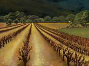 Grapevines Painting Originals - Sleeping vines on Hiway 128 by Sharon Wenz
