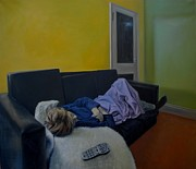 Bedtime Paintings - Sleeping Woman with Remote Control by Otto Farkas