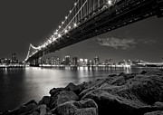 Manhattan Bridge Prints - Sleepless Nights And City Lights Print by Evelina Kremsdorf