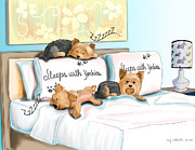 Puppies Mixed Media - Sleeps with Yorkies by Catia Cho