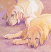 Labrador Retriever Paintings - Sleepy Babies by Sheila Wedegis