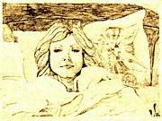 Chin Up Drawings - Sleepy Girl Friend on a Cat Pillow by Sheri Parris
