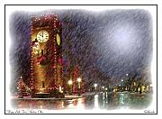 Clock Hands Digital Art Prints - Sleepy Little Town Print by Kenneth Krolikowski