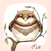 Carrieann Reda Posters - Sleepy Owl Poster by CarrieAnn Reda