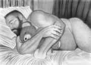 Gay Men Drawings Prints - Sleepy Time For Teddy Print by Brent  Marr