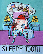 Expressionist Mixed Media Posters - Sleepy Tooth Poster by Anthony Falbo